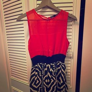 Zara Basic short red and blue dress